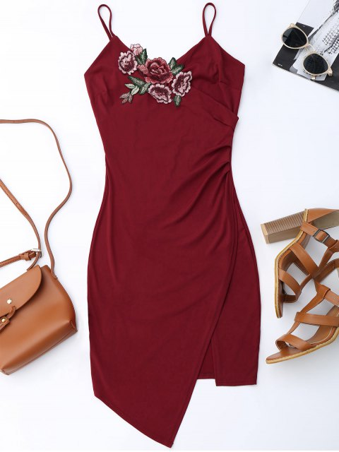 fashion Floral Patched Asymmetrical Surplice Dress - WINE RED S Mobile