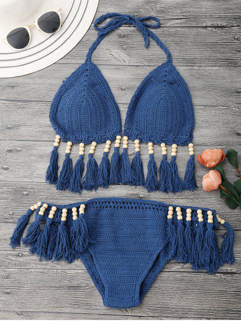 Bikini en crochet orné de perles et franges - Bleu Glacé S Mobile
