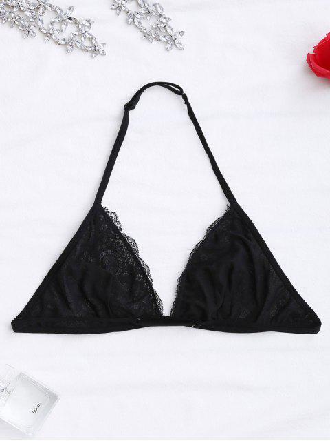 online Halter Scalloped Lace Bra - BLACK S Mobile