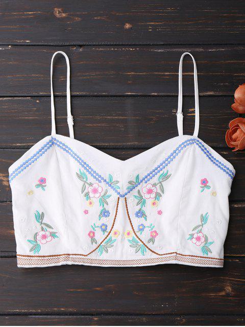 Débardeur brodé brodé à motifs floraux - Blanc TAILLE MOYENNE Mobile