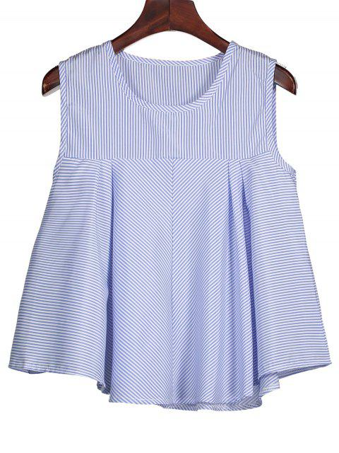 outfits Stripes Ruffles Tank Top - BLUE M Mobile