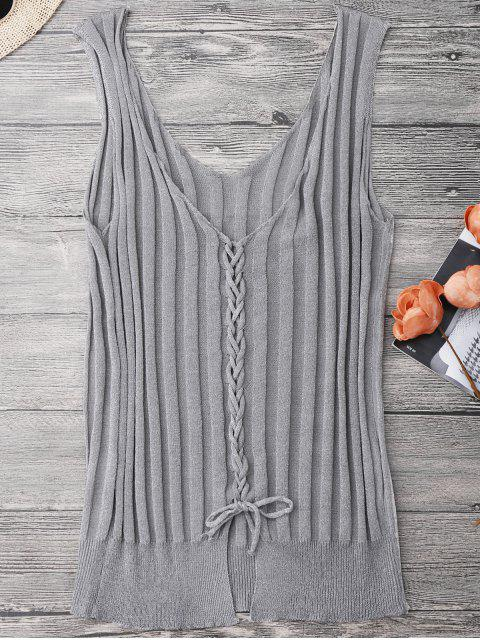 women Ribbed Lace Up Tank Top - GRAY ONE SIZE Mobile