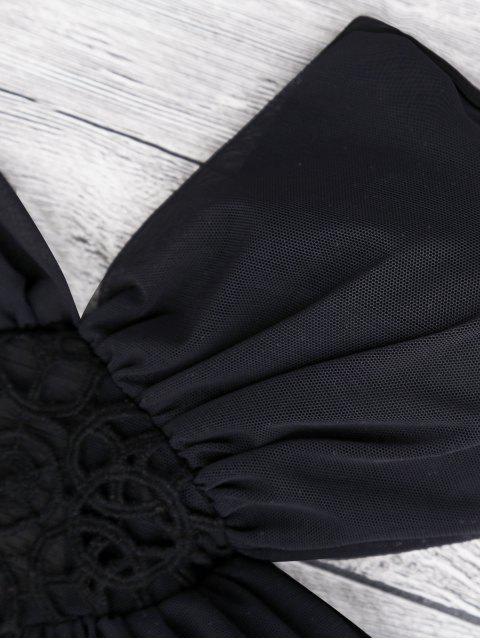 Monokini à bretelle avec maille - Noir S Mobile