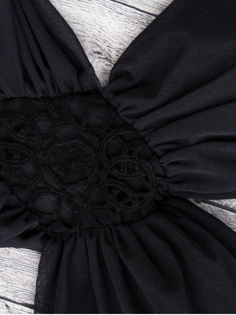 women Halter Mesh Panel Monokini Swimsuit - BLACK L Mobile