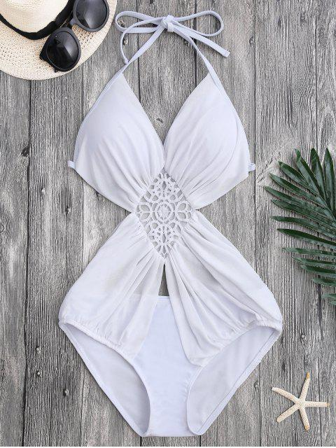 Monokini à bretelle avec maille - Blanc M Mobile