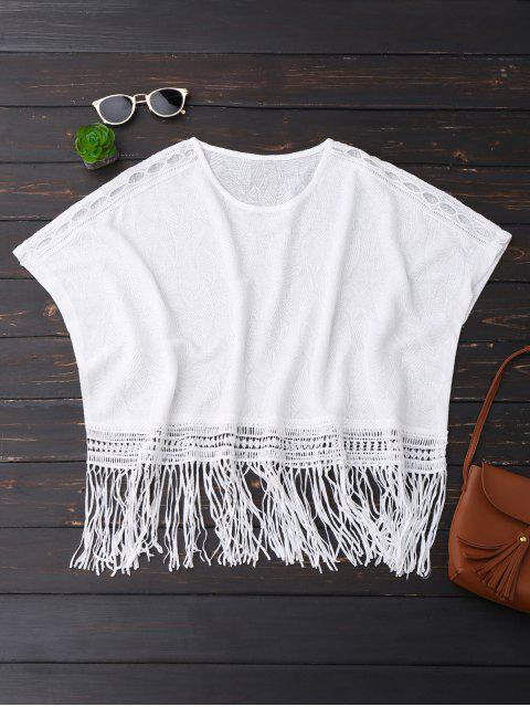 outfits Oversized Fringed Top - WHITE ONE SIZE Mobile