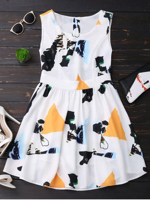 outfits Print Back Buttoned Sleeveless Holiday Dress - YELLOW M Mobile