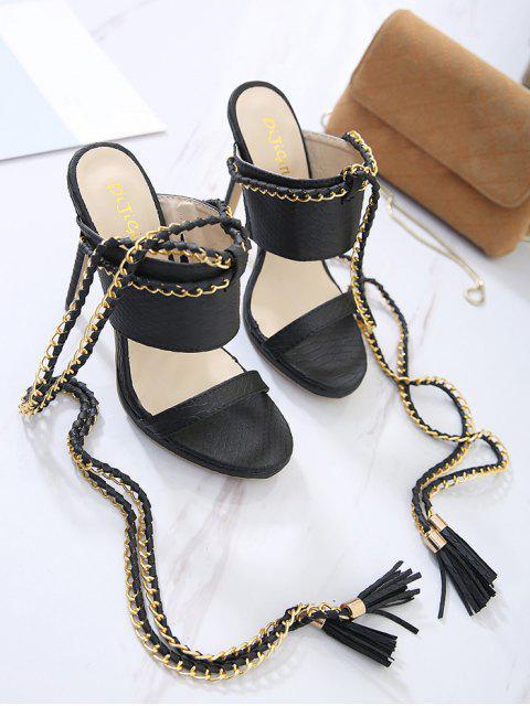 sale Chains Lace Up Tassels Sandals - BLACK 39 Mobile