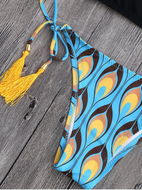 womens Peacock Print Strappy String Bikini - BLACK S Mobile