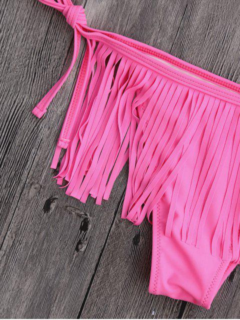 trendy Fringe One Shoulder String Bathing Suit - PINK L Mobile