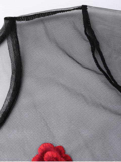 Maillot de mailles brodé sur le dessus - Noir S Mobile