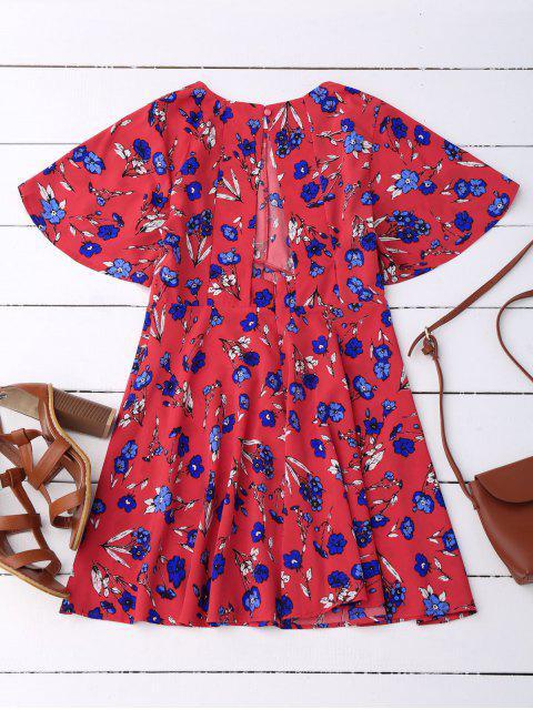 outfits Floral Split Back Dress - RED M Mobile