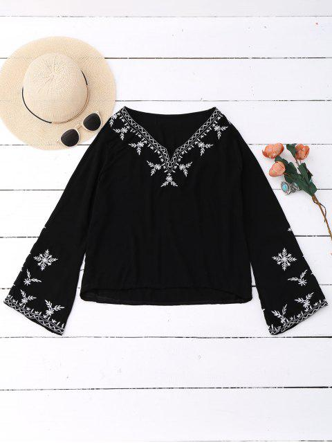 shop Linen Embroidered Blouse - BLACK ONE SIZE Mobile