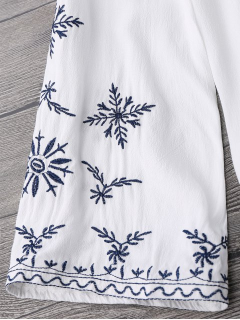 shops Linen Embroidered Blouse - WHITE ONE SIZE Mobile