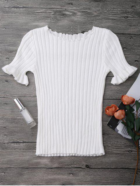 women Knitted Ribbed Top - WHITE ONE SIZE Mobile