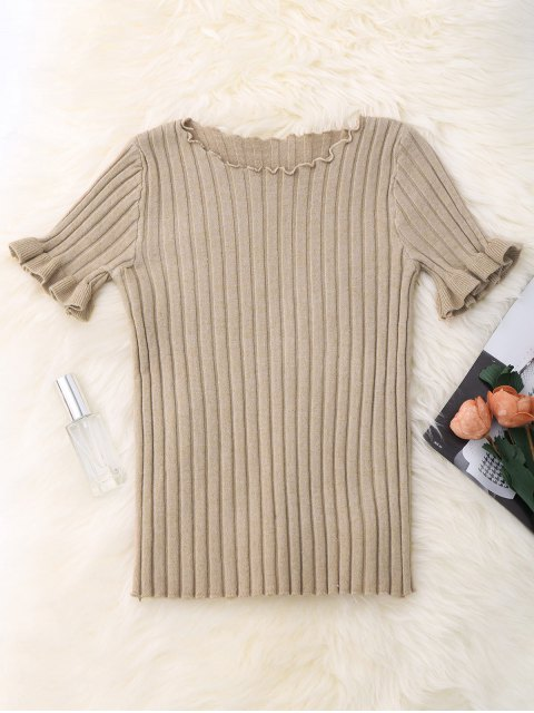 ladies Knitted Ribbed Top - APRICOT ONE SIZE Mobile