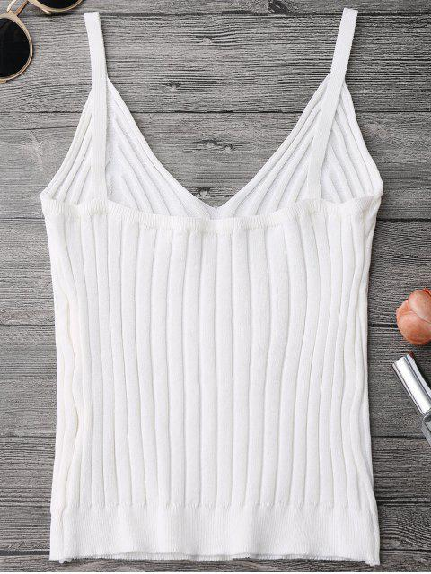 unique Knitted Ribbed Tank Top - WHITE ONE SIZE Mobile