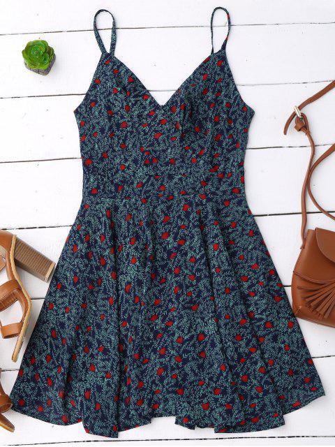 online Slip Leaf Print Surplice Skater Dress - COLORMIX M Mobile