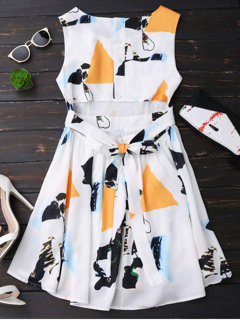 outfit Print Back Buttoned Sleeveless Holiday Dress - YELLOW S Mobile