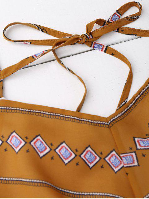 Robe évasée et amincissante imprimée losange avec fente - Terreux M Mobile