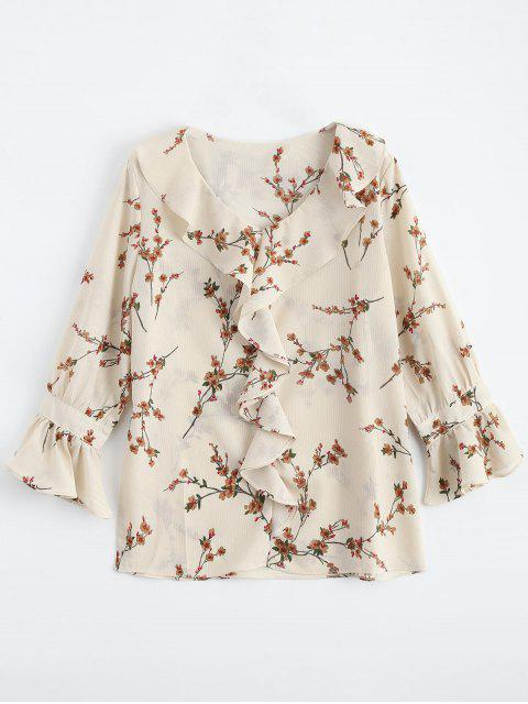 fancy Ruffle Floral Flare Sleeve Blouse - LIGHT APRICOT L Mobile