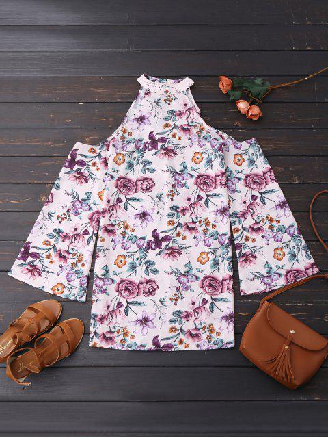 buy Cold Shoulder Floral Holiday Dress - FLORAL S Mobile