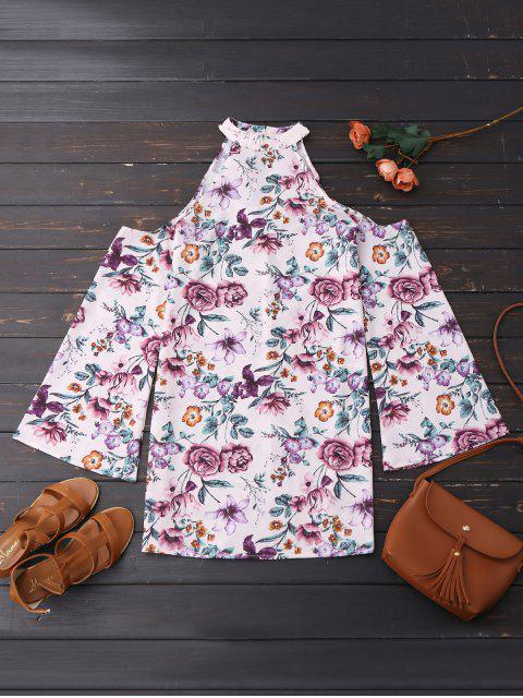 womens Cold Shoulder Floral Holiday Dress - FLORAL M Mobile