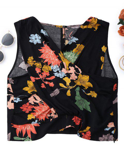 lady Floral Surplice Tank Top - BLACK L Mobile