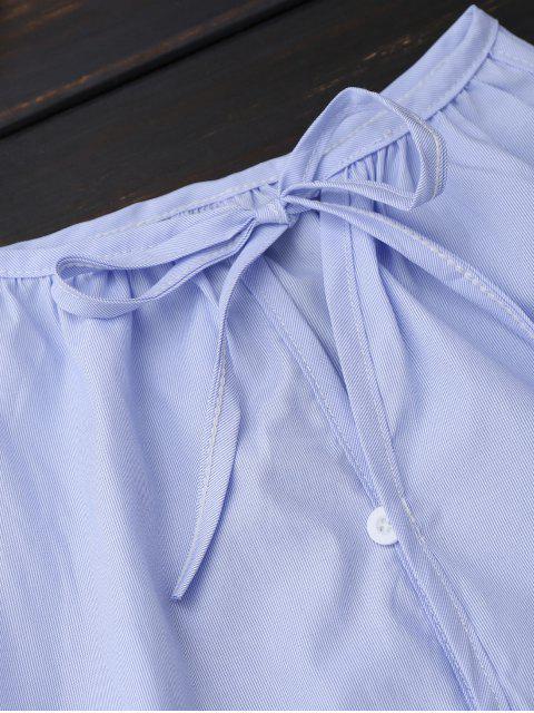 Chemisier à épaules dénudées à bouton haut avec lacet - Bleu clair XL Mobile
