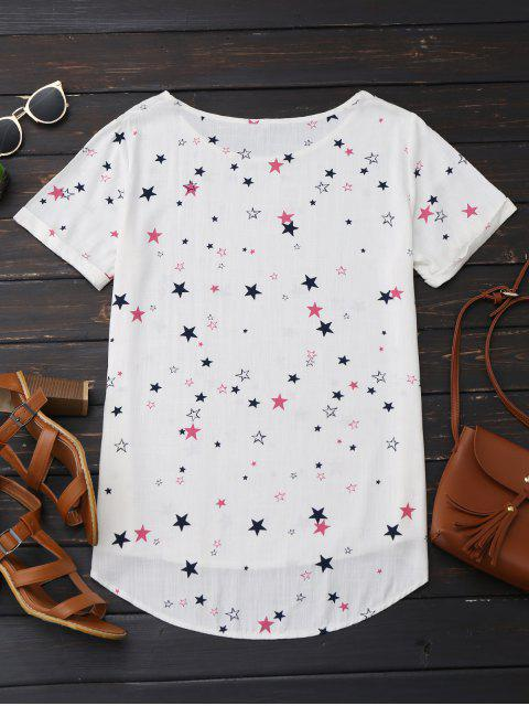 unique High Low Star Print Oversized Top - OFF-WHITE XL Mobile