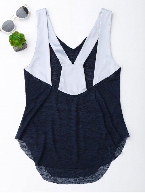 fancy Satin Straps Crossover Tank Top - PEARL INDIGO BLUE M Mobile