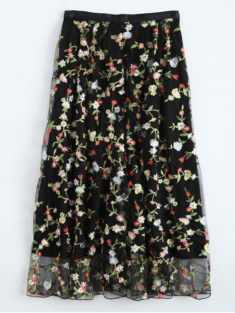 shop Floral Embroidered Tulle Skirt - BLACK S Mobile