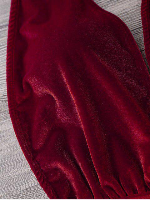 Bañador de Monokini de Halter en una Pieza con Cuello en V - Rojo S Mobile