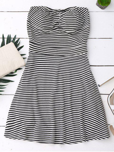 lady Striped Tube Dress - BLACK L Mobile