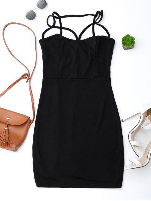 fashion Spaghetti Straps Low Back Bodycon Dress - BLACK M Mobile