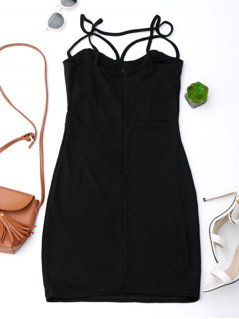 Spaghetti Straps Low Back Bodycon Dress - Noir L Mobile