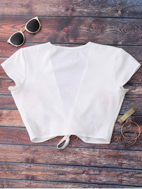 women Knot Front Beach Cover Up Crop Top - WHITE L Mobile