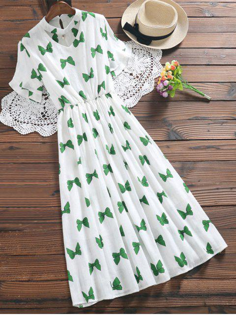 latest Bowknot Print Faux Pearl Choker Linen Dress - GREEN L Mobile