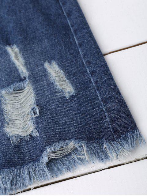 Sequins Floral Frayed Denim Jupe - Denim Bleu M Mobile