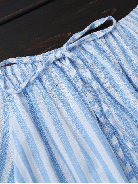 trendy Off Shoulder Drawstring Striped Dress - LIGHT BLUE S Mobile