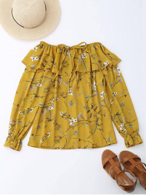 ladies Off Shoulder Ruffle Drawstring Floral Blouse - YELLOW L Mobile