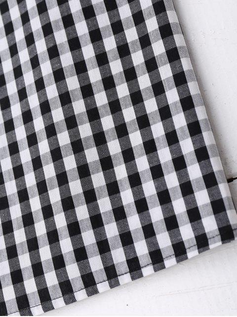 ladies Cold Shoulder Ruffle Plaid Dress - CHECKED L Mobile