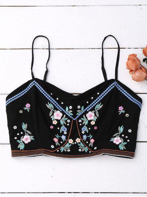 online Floral Embroidered Smocked Cropped Tank Top - BLACK ONE SIZE Mobile