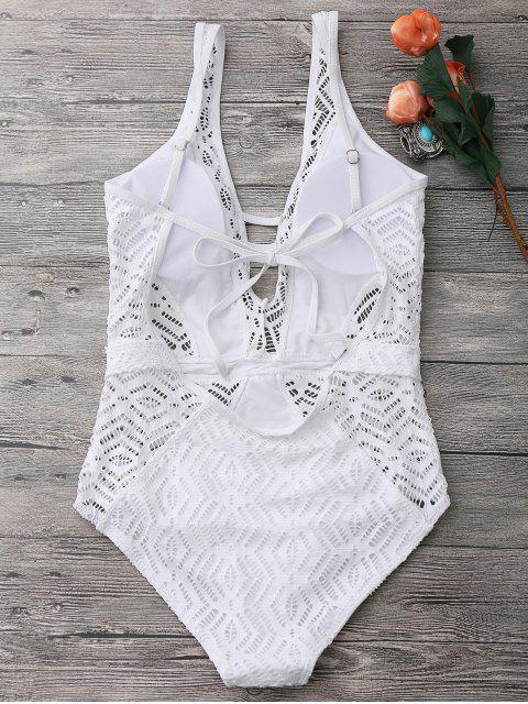 shop Open Back Lace Plunge One Piece Swimsuit - WHITE M Mobile