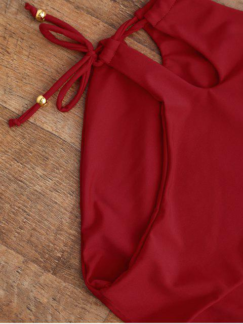 womens Lace Up Cut Out One Piece Swimwear - RED S Mobile