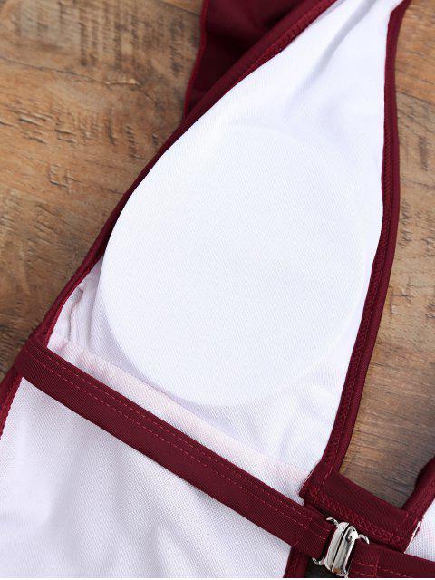 fancy Ruffle Halter Plunge Neck One Piece Swimsuit - BURGUNDY M Mobile