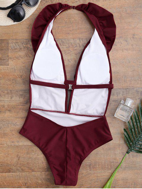 sale Ruffle Halter Plunge Neck One Piece Swimsuit - BURGUNDY XL Mobile