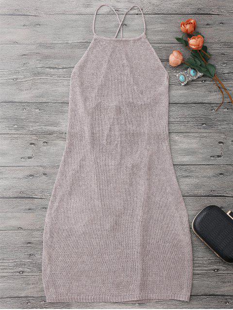 Vestido Envuelto de Playa con Cuello de Delantal con Cordón - púrpura rosácea Única Talla Mobile