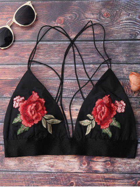 fancy Floral Strappy Bralette Crop Top - BLACK L Mobile