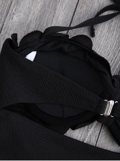 buy Cut Out High Leg Scalloped Swimwear - BLACK L Mobile